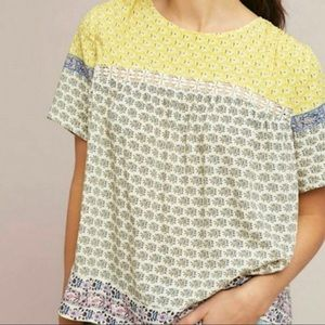 Anthropologie BLUE TASSEL Floral Rayon Blouse Top